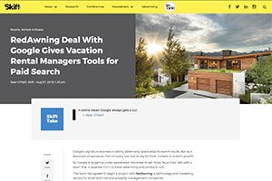 RedAwning Deal With Google Gives Vacation Rental Managers Tools for Paid Search